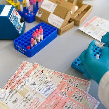 The Competence Network's biosamples are encrypted in the laboratory of the biobank.