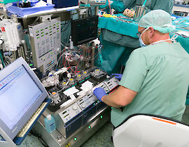 A heart-lung machine being used during pediatric heart surgery