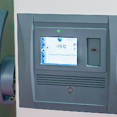 Control monitor on a sample fridge of the Central Biobank Charité (ZeBanC).